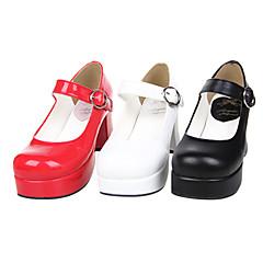 Boty Klasická a tradiční lolita Ručně Vyrobeno Vysoký podpatek Boty Jednobarevné 7.5 CM Červená / Bílá / Černá Pro DámskéPU
