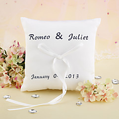 Personalized Elegant Wedding Ring Pillow With Ribbon