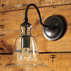 retro wandlamp met bloemen glazen kap en metalen beugel