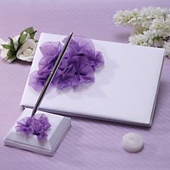 ספר אורחים סט עטים סאטן נושא גן סגנון פרחוניWithאבנט