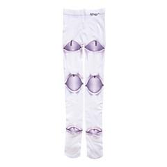גרביים וגרביונים לוליטה גותי לוליטה לוליטה סגול בהיר / לבן לוליטה אביזרים גרביונים דפוס ל נשים קטיפה