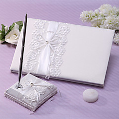 "Guestbook / Pen Set-Pitsi-Puutarha-teema-Nauha / Rhinestones Norsunluu 8 1/3""×6 1/3""(21cm x 16cm)1 page is for the bride and groom name,1"
