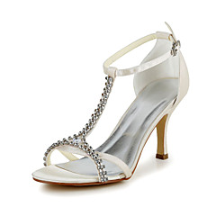 Women's Spring Summer T-Strap Satin Stretch Satin Wedding Stiletto Heel