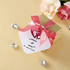 Personalizované Favor Tagy - Pink tkaného Hearts (sada 36)