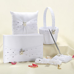 Wedding Collection Set Med Faux Pearl Flower og organza Bow (5 stk)