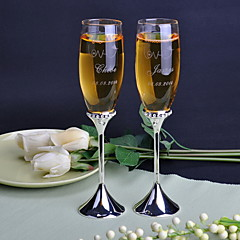 Personalized Long-stemmed Trumpet Toasting Flutes-Set of 2 Pieces