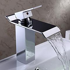 Modern Middenset Waterval with  Keramische ventiel Single Handle Een Hole for  Chroom , Wastafel kraan