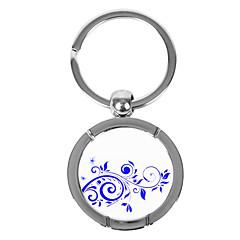 Azul-e-branco Estilo Porcelain Rodada personalizado Keychain - Cirrus