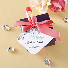 Personalized Favor Tags - Green Flower (set of 36)