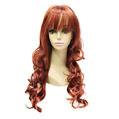 Capless høy kvalitet syntetisk Janpanese Kanekalon Long Auburn Red krøllete hår parykk
