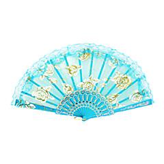 Gold Rose Pattern Lace Hand Fan