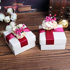 White Square Favor Boxen Mit Roter Blume Top - Set von 12