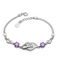 Elegant Korea-Style 17.5CM Slivery Alloy Women's Bangles(1 Pc)(White,Purple)