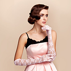 Elbow Length Fingertips Glove Lace Bridal Gloves Spring / Summer / Fall