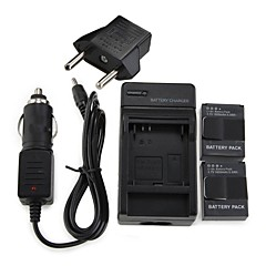 2 x AHDBT-301 Battery For Gopro 1600mAh Batteries Pack+Wall Charger+Car Charger+EU Adapter Plug for GoPro 3 & 3+
