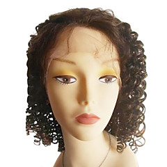 Braziliaanse Virgin Hair Natural Color 14 Inch Lengte Loose Curly Full Lace Wig Zwitserse Lace 130 Dichtheid