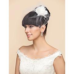 Voiles de Mariée Une couche Voiles Blush / Voile de cage à oiseaux Tulle Blanc / Noir Blanc / NoirA-ligne, Robe de bal, Princesse,