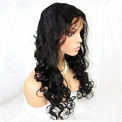 22inch slaccia l'onda Curl peruviana dei capelli umani parrucca piena del merletto di modo naturale della linea sottile