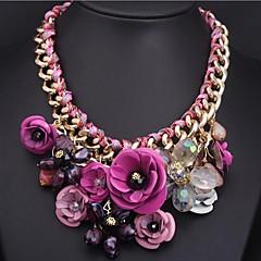Women's Flower Color Gemstone Pendant Necklace