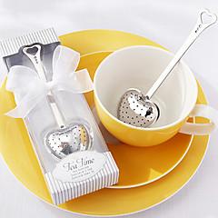 """""""Délutáni"""" szív rozsdamentes acél tea infuser az elegáns fehér díszdobozban, w16.5cm xl5cm"""