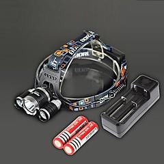 Lampe Frontale BORUIT RJ-3000 à 4 Modes (3 Cree XM-L T6 4000 Lumens - 2 Piles 18650 - Noire)