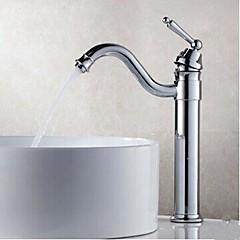 Zeitgenössisch Mittellage drehbarer with  Messingventil Einhand Ein Loch for  Chrom , Waschbecken Wasserhahn