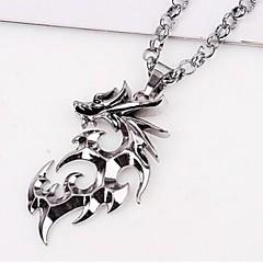 European Dragon (Animal) Silver Titanium Steel Pendant Necklace(Silver) (1 Pc) Jewelry Christmas Gifts