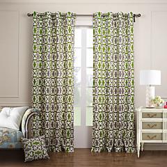 moderne to paneler floral botaniske grønne soveværelse panel bomuld gardiner forhæng