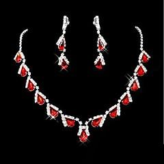 bryllup brude brudepike krystall halskjede ørerings juvel Sett