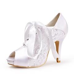 Dame Bryllup sko Hæler/Åpen tå/Platå Sandaler Bryllup Svart/Rød/Elfenbenshvit/Hvit