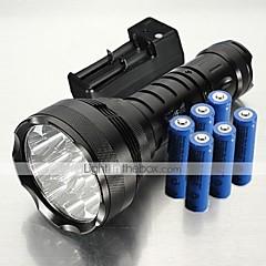 Lampe de poche étanche LED T6, 5 modes, 12 ampoules XML