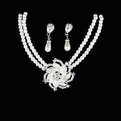 Conjunto de joyas De mujeres Boda / Fiesta / Cotidiano Sets de Joya Perla / Aleación Collares / Pendientes Plata