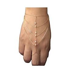 צמיד שרשרת יהלומים מלאכותיים אירופאי אופנה בסגנון עם טבעת