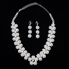 Jewelry Set Women's Anniversary / Wedding / Birthday / Gift / Party Jewelry Sets Alloy Necklaces / Earrings Silver