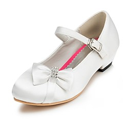 Women's Shoes Satin Spring / Summer / Fall / Winter Comfort Wedding Flat Heel Bowknot Pink / Red / Ivory / White