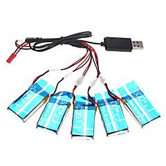 batteria 600mAh aggiornamento 5pcs 3.7v x5-16 x5C syma impostato con cavo di ricarica