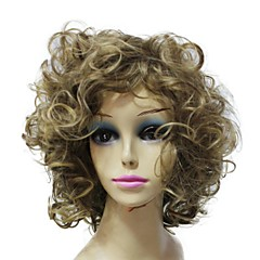 Capless Top Grade Synthetic Blonde Short Curly Synthetic Full Bang Wig