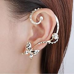Brincos Curtos Punhos da orelha imitação de diamante Liga Formato Animal Borboleta Dourado Jóias Para Festa Diário 1peça