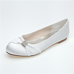 Dame Bryllup sko Rund tå Flate sko Bryllup/Fritid/Fest/aften Svart/Blå/Rosa/Lilla/Elfenbenshvit/Hvit/Sølv