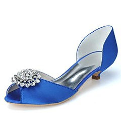 Women's Shoes Satin Spring / Summer / Fall / Winter Peep Toe Wedding / Party & Evening Kitten Heel RhinestoneBlack / Blue / Pink / Ivory