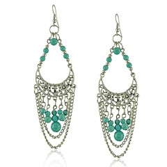 Fashion Tibetan Silver Jewelry Hollow Out Half Moon Carving Turquoise  Earring