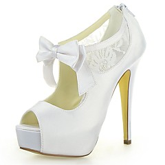 Women's Summer Heels / Peep Toe / Platform Satin / Lace Wedding Stiletto Heel Satin Flower / Zipper Ivory / White / Champagne