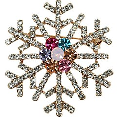 Wedding Bridal Colorful Brooch Pin Crystal Rhinestone Large Snowflake Winter snow Theme