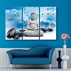 E-Home® der Buddha und die Steine Uhr in Segeltuch 3pcs