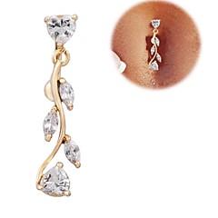 Feminino Bijuteria de Corpo Piercing de Umbigo Zircão Zircônia Cubica Formato de Coração Dourado Jóias Diário Casual Presentes de Natal