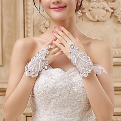 Wrist Length Fingerless Glove Lace / Tulle Bridal Gloves Embroidery / Rhinestone