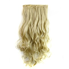24 Zoll 120g lang hitzebeständiger Synthesefaser blondes lockiges Clip in Haarverlängerungen mit 5 Clips