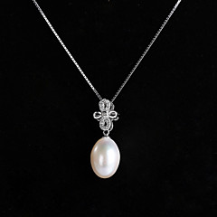 Natural White Pearl 925 Sterling Silver Necklace
