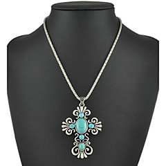 Hot Sale Vintage Silver Turquoise Necklaces Pendants Fashion Sweater Chain Necklaces For Women