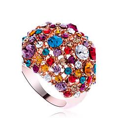 טבעות הצהרה סגסוגת זירקוניה מעוקבת חיקוי יהלום אופנתי גילוי תכשיטים צבע מסך תכשיטים Party 1pc